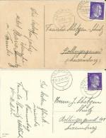 Besatzung - 2 Grußkarten Von Ettelbrück N. Luxemburg 1942+1943 - Besetzungen