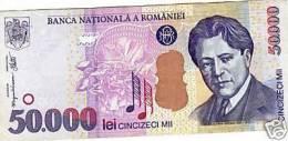 Romania 50.000 Lei George Enescu BANKNOTE 2000 50000 LEI AUNC - Romania