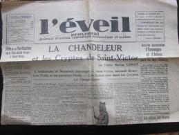 """10 jan 1937 """"L'EVEIL proven�al"""" JOURNAL Action catholique �co social-Chandeleur Saint-Victor souvenirs de guerre vierge"""