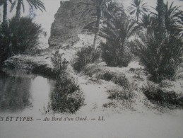 NOEL 1912 SCENES ET TYPES AU BORD D UN OUED ALGERIE (Ex Colonie Française ) CPA Animée Militaria >STRASBURG TIMBRE REICH - Algeria