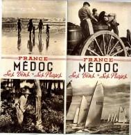 FRANCE MEDOC  SES VINS SES PLAGES  -  DEPLIANT TOURISTIQUE 5 VOLETS    CARTE GEOGRAPHIQUE DE LA REGIONDIM  53  X  43 - Dépliants Turistici