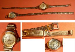 Lot 2 Anciennes Montre-bracelet Mécanique Pour Femme, Laiton, ALPEOR & REGLIA, Bracelet - Watches: Old