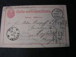 == CH  Karte Glarus 1883 Erfurt - Enteros Postales