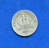 20  Cents  1864 A - Francia