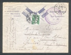 Cachet 62 ème Rgt D'Artillerie - 51 ème Batterie - Groupe Lourd De 155 Long -Besançon 16 01 14 Pour Genève - Marcophilie (Lettres)