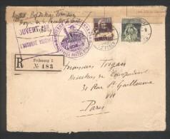Lettre Recommandée De Fribourg (suisse) Pour Paris - Cachet Controle Postale Pontarlier  - Ouvert Par Autorité Militaire - 1. Weltkrieg 1914-1918