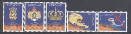 CURACAO,2014, MNH, 200 YEARS OF DUTCH KINGDOM, CROWNS, CRESTS, LIONS,5v - Geschiedenis