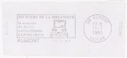 FRANCE. FRAGMENT. AUMONT. CAR. MECHANICAL  DAYS. 1991. FLAMME - Marcofilia (sobres)