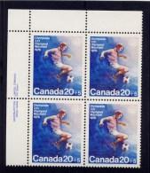 CANADA 1975. # B12, TEAM SPORTS,  MNH    UL BLOCK - Ongebruikt