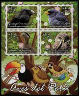 Peru (2014) Yv. Bf. 75   /  Fauna - Birds - Oiseaux - Vogel - Owl - Buho - Toucan - Eulenvögel
