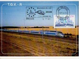 CP - TGV Atlantique - Brioude Journées Du Rail - 1; 2 Et 3 Octobre 1993 - Marcophilie (Lettres)