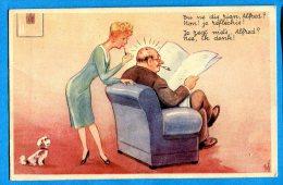 FR670, Couple, Femme Avec Rouge à Lèvre, Homme Avec Cigare, Petit Chien Blanc, Illustrateur, Non Circulée - Humour