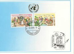Nations Unies - Carte Postale - Genève Paris - 1994 - Population Et Développement - YT 274 Et 275 - Genf - Büro Der Vereinten Nationen