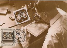 Nations Unies - Carte Postale 1er Jour - 40ème Anniversaire - Graveur Timbre - 1991 - Vienne - YT 129 - FDC