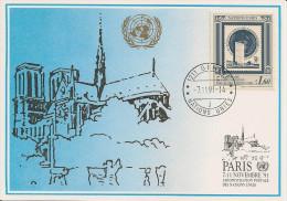 Nations Unies - Carte Postale - 1991 - Genève - Paris - YT 215 - Briefe U. Dokumente
