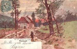 SAMEDI TABLEAU SCENE RURALE CARTE PRECURSEUR CIRCULEE 1903 - Peintures & Tableaux
