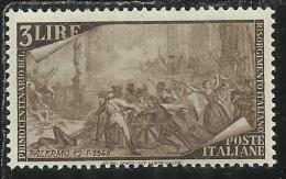 ITALIA REPUBBLICA ITALY REPUBLIC 1948 RISORGIMENTO LIRE 3 MNH - 6. 1946-.. Repubblica