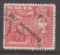 Malta, George VI , 1953 Self Government,  2 1/2d Scarlet-vermillion, Used - Malta