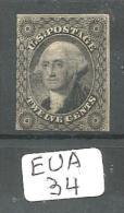 EUA Scott  17 (x) Gray Black YT 8 # - 1847-99 General Issues