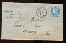 V44 - Lac -  Roujan  9 Juin 74 GC 3225 -  Pour Trévoux   Ain -   - - 1849-1876: Periodo Classico