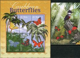 St. Kitts 2001. Michel #646/51+Bl.#40 MNH/Luxe. Butterflies. (B14) - Papillons