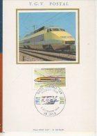 CP - TGV Postal - Exposition La Poste Et Le Train (dessin Sur Soie) - Trains