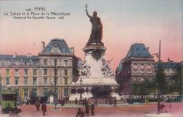 Cp , 75 , PARIS , La Statue Et La Place De La République - Piazze