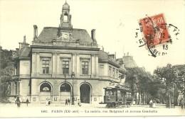PARIS 20ème - La Mairie, Rue Belgrand Et Avenue Gambetta - TRAMWAY - Animée - Arrondissement: 20