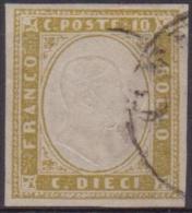 SARDEGNA 1858 - 10 Cent. Oliva Chiaro N. 14Db. Cert. Chiavarello. Cat. € 550,00. BB - Sardegna