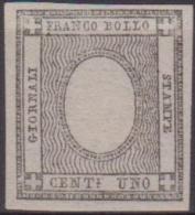 SARDEGNA 1861 - 1 Cent. Nero Grigiastro Senza Cifre Nuovo Con Gomma N. 19h. Cert. Chiavarello. BB - Sardegna