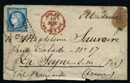 """OBL CAD """"COL.FR PAQ.FR.T N°2 """" EN ROUGE SUR ENV.  AFF COL. GENE ( Tarif Militaire)REUNION / LA SEYNE 1877 LOT P3884 - Marcophilie (Lettres)"""