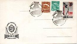 URUGUAY. Timbre N°96 De 1966 Pour Colis Postaux Sur Enveloppe 1er Jour. Déesse Ailée. - Uruguay