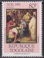 Timbre Neuf ** N° 1236(Yvert) Togo 1988 - Noël, Tableau De Brueghel - Togo (1960-...)