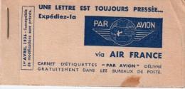 FRANCE : AIR FRANCE . CARNET DE VIGNETTES . PA . 01/04/36 . - 1927-1959 Brieven & Documenten