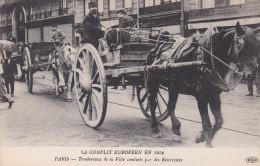 LE CONFLIT EUROPEEN EN 1914 TOMBEREAUX DE LA VILLE CONDUIT PAR DES RESERVISTES  PARIS  SCANS RECTO VERSO - Oorlog 1914-18