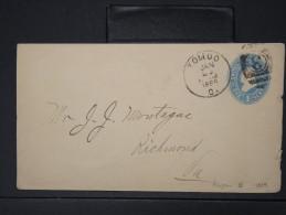 ETATS UNIS- ENTIER POSTAL DE TOLLDO POUR RICHMOND EN 1889       A VOIR  LOT P3984
