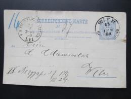Postkarte GANZSACHE WIEN PNEUMATISCHE EXPRESSBEFÖRDERUNG 1889  //  D*16043 - 1850-1918 Imperium