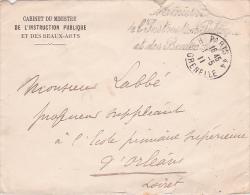 """1911 Franchise """" MINISTERE DE L'INSTRUCTION PUBLIQUES ET DES BEAUX ARTS"""" Sur Lettre à En-tête Du Cabinet Du Ministre - Marcofilie (Brieven)"""