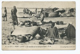 CPA FORT LAMY, UN MARCHE SUR LES BORDS DU CHARI, TCHAD - Tchad