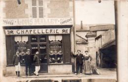 """Belle Carte Photo A Situer ( Editeur Refeuille A Nevers, Nievre)devanture Commerce Chapellerie Animee """" Louis Mallet """" - A Identifier"""