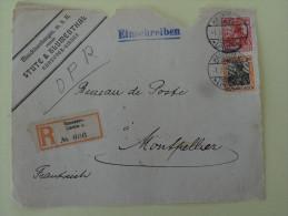 30+10 P Sur Recommande De Hannover 1911 Devant De Lettre Pour Montpellier - Allemagne