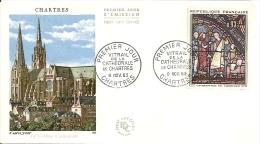 N°1399 De 1963 -  Lot De 2 FDC  -  Vitrail De La Cathédral De Chartres - FDC
