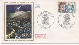 """FRANCE 1971. F.D.C. JOURNEE DU TIMBRE """" LA POSTE AUX ARMEES  1914-18 """".OBLITERATION: LE 27/3 71 COURBEVOIE - FDC"""