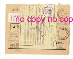Enveloppe & Récépissé Postes CONTRIBUTIONS DIRECTES 1933 - VALENCIENNES PP  - 59 - Nord Recommandé à Rucart Valenciennes - 1900 – 1949