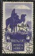 LIBIA 1936 POSTA AEREA AIR MAIL SOPRASTAMPATO DI CIRENAICA OVERPRINTED CENT. 50 CENTESIMI USATO USED OBLITERE´ - Libya