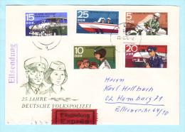 DDR GDR RDA FDC Brief Cover Lettre EXPRESS 1579-1583 Polizei 25 Jahre Boot Auto Eisenbahn (2 Scan) (31773) - FDC: Enveloppes
