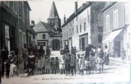 58 SAINT PIERRE LE MOUTIER  CARTE RARE PLACE NATIONALE TRES ANIMEE TRES BON ETAT - Saint Pierre Le Moutier