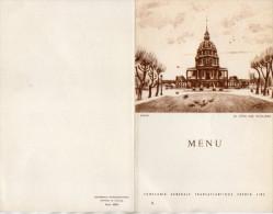 MENU COMPAGNIE GENERALE TRANSATLANTIQUE Paquebot  ILE DE FRANCE  Le Dome Des Invalides PARIS 25 Juin 1958 - Menus