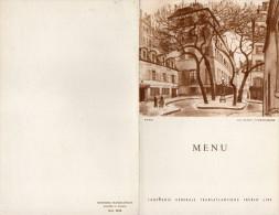 MENU  COMPAGNIE GENERALE TRANSATLANTIQUE Paquebot  ILE DE FRANCE  La Place Furstenberg  PARIS 28Juin 1958 - Menus