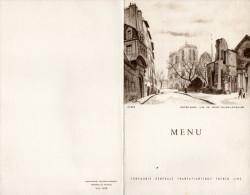 MENU COMPAGNIE GENERALE TRANSATLANTIQUE Paquebot ILE De FRANCE  Notre Dame PARIS 1er Juillet 1958 - Menus